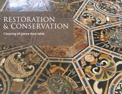 Cleaning of pietra dura table
